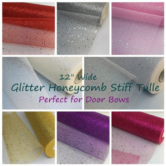 "12"" / 29 CM Wide Sparkles Glitter Honeycomb Stiff Tulle"
